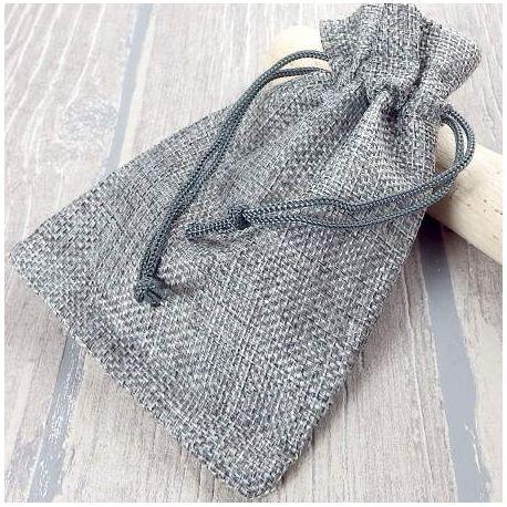 Pochette cadeau jute gris clair pour bijoux