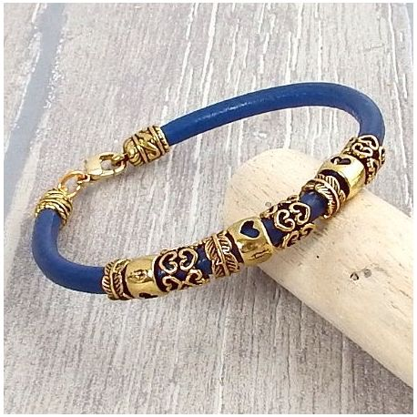 Kit bracelet cuir bleu vif perles et fermoir antiques dores, tutoriel offert