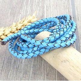 Cordon cuir rond tresse bleu clair 4MM par 20cm
