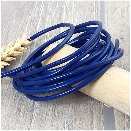 Cordon cuir rond 3mm couleur bleu electrique
