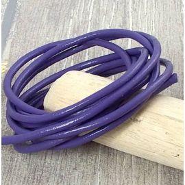 Cordon cuir 3mm rond violet