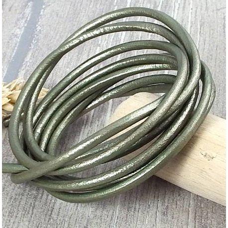 Cordon cuir rond 3mm couleur kaki metal