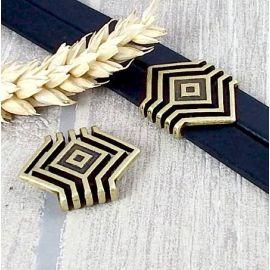 passe cuir geometrique bronze pour cuir plat 20mm