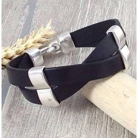 Kit bracelet cuir homme noir croise argent