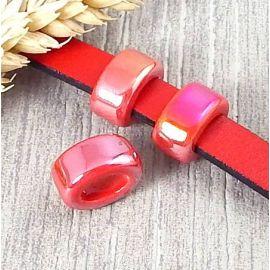 2 Passants ceramique rouges pour cuir 10mm