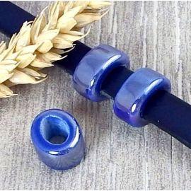 2 Passants ceramique bleus pour cuir 10mm