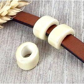 2 Passants ceramique ivoires pour cuir 10mm