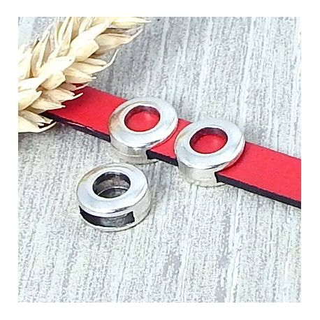Perle passante carré évidé plaque argent pour cuir 10mm