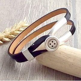 Kit tuto bracelet cuir noir verni fermoir double bouton argent