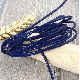 Cordon cuir rond 2mm bleu marine