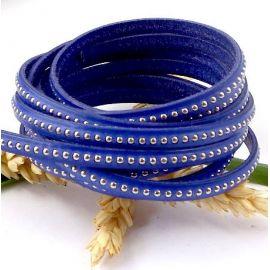 Cuir plat bleu gitane avec billes 6mm haute qualite doublee par 20cm