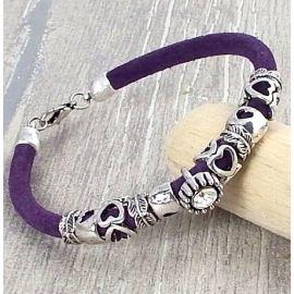 Kit bracelet cuir daim violet perles argent et strass, tutoriel offert