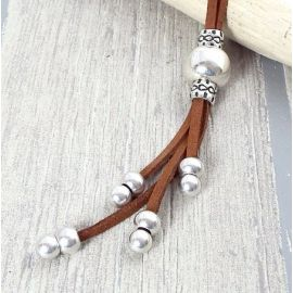 Kit collier suedine marron boho perles argent