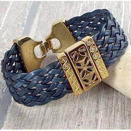 Bracelet manchette cuir tresse gris et or