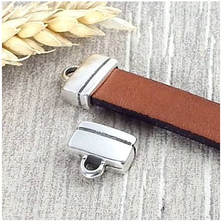 2 embouts ligne fermoir plaque argent pour cuir plat 10mm