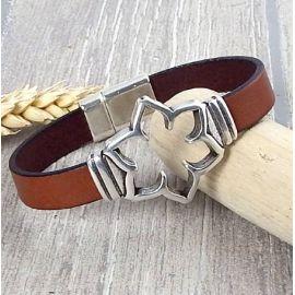 Kit bracelet cuir camel fleur decoupee et fermoir argent