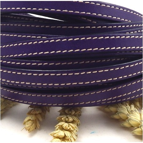 cuir plat 10mm couture violet