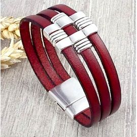 Kit bracelet cuir bordeaux et argent géométrique