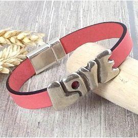 Kit bracelet cuir corail et argent love