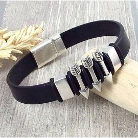 Kit bracelet cuir noir homme fleches boho