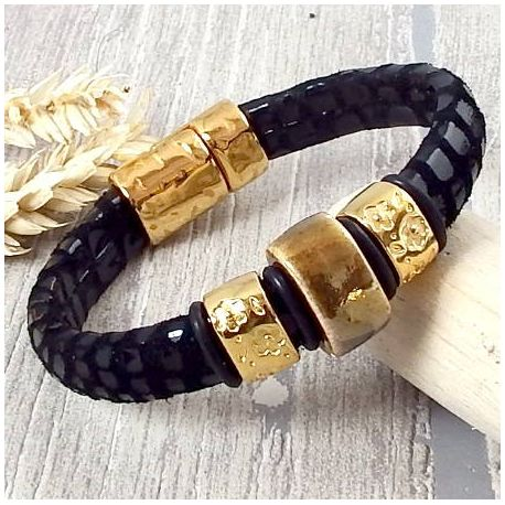 Kit bracelet cuir cancun regaliz noir et or