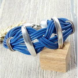 Kit bracelet cuir tresse bleu vif et argent avec tutoriel