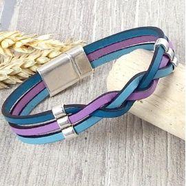 Kit bracelet cuir tresse bleu mauve et argent