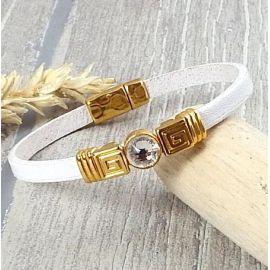 Kit bracelet cuir blanc perles or et cristal swarovski cristal