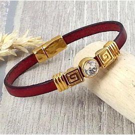 Kit bracelet cuir bordeaux perles or et cristal swarovski cristal