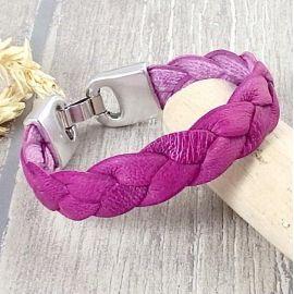 Kit bracelet cuir Eco tresse fuchsia