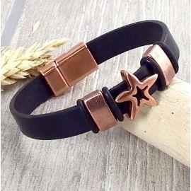 Kit bracelet cuir noir homme etoile cuivre