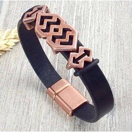 Kit bracelet cuir noir homme style grec cuivre