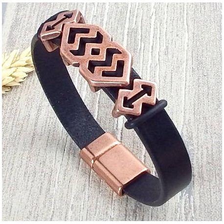 Kit bracelet cuir noir homme style grec vue haut