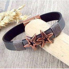 Kit bracelet cuir argent vieilli homme etoile cuivre