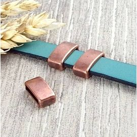 10 Passants rectangle cuivre pour cuir plat 10mm