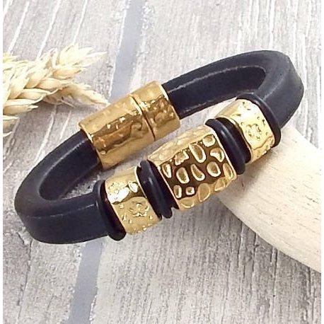 Kit bracelet cuir regaliz noir et or special fete des meres