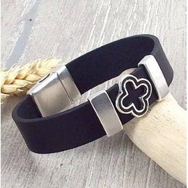 Kit tutoriel bracelet cuir noir croix trefle et argent