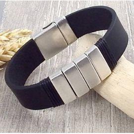 Kit tutoriel bracelet cuir noir moderne argent