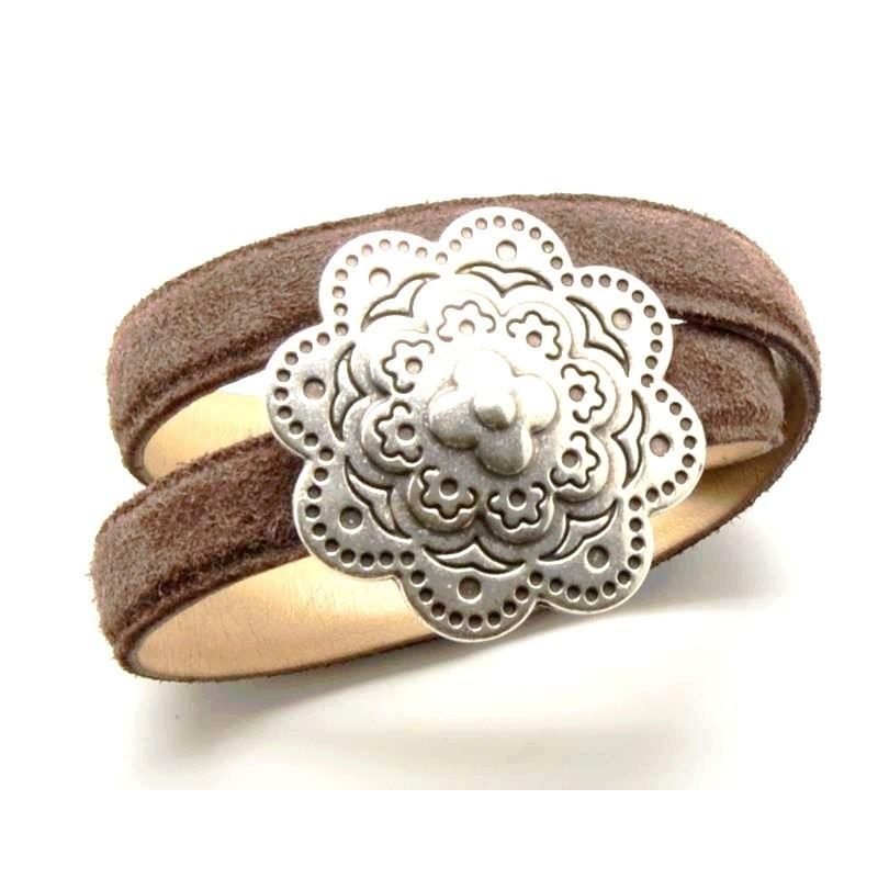 fermoir magnetique fleur argente pour cuir regaliz. Black Bedroom Furniture Sets. Home Design Ideas