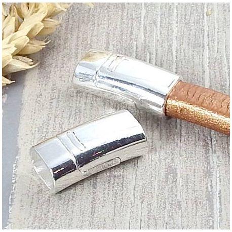 Fermoir magnetique argente brillant pour cuir regaliz
