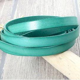 Cordon Cuir plat 10mm vert jade