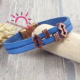 Kit bracelet cuir bleu indigo fleches et fermoir cuivre