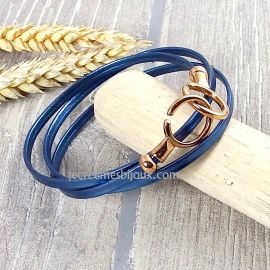 Kit bracelet en cuir fin bleu metal avec fermoir menottes or rose