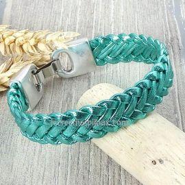 Bracelet cuir tresse vert metal 6 brins