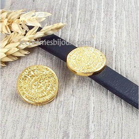 Passe cuir piece ethnique flashee or pour cuir plat 10mm