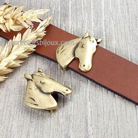Passant tete de cheval bronze pour cuir plat 20mm