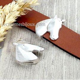 Passant tete de cheval argent pour cuir plat 20mm