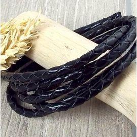 Cordon cuir rond tresse noir 5MM par 20cm