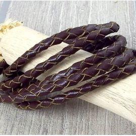Cordon cuir rond tresse marron 5MM par 20cm
