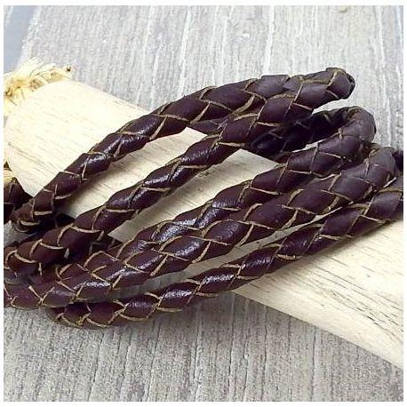 images détaillées les plus récents meilleure vente Cordon cuir rond 5mm tresse marron - Pour bracelets DIY